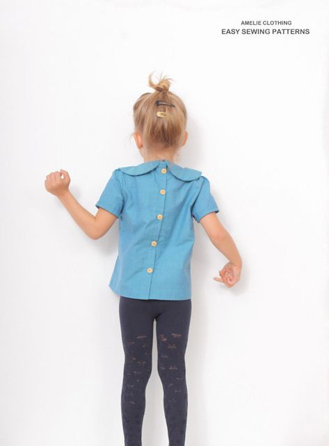 6646d0193 Blue BLOUSE pdf pattern - Peter Pan collar blouse sewing pattern - size 3T  - 8Years
