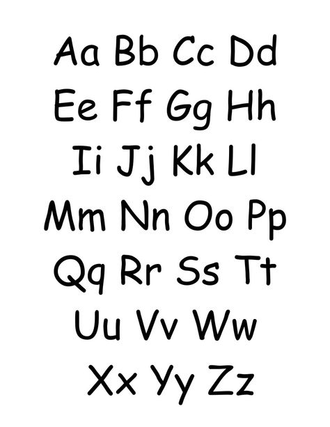 Simple alphabet chart that contains both uppercase and lowercase ...