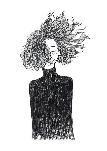 Self Acceptance Hair Curly Hair Drawing Line Art Drawings How To Draw Hair