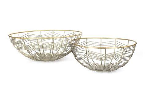 Decorative Wire Fruit Bowl Set Of 2 Bowls Zinc Gold Finish