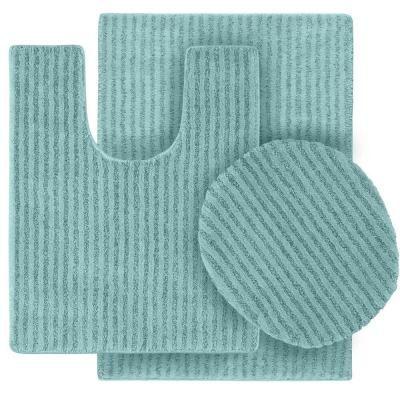"""Washable Bathroom 2-Piece Rug Set 21/"""" x 34/"""" Stripe Sea Foam Bath Mat Nonskid"""