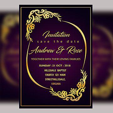 purple wedding invitation card template