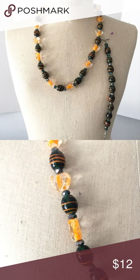"""Orange & Black Art Glass Bead Necklace & Bracelet Orange and black glass bead necklace and bracelet set.  Great for halloween!  Necklace is 22"""" Bracelet is 7.5"""" Hand Made Jewelry Necklaces"""