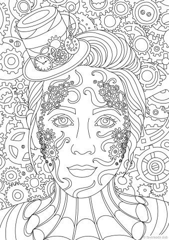 Steampunk Lady Coloring Page Favoreads Steampunk Coloring