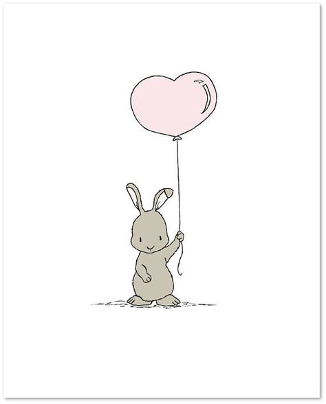 Bunny Nursery Art : Little bunny has a heart balloon just for you. *frame NOT included You can CUSTOMIZE this print to any colors you choose, either from the color chart or a picture or link, just let me know and I can create a custom listing for you! *Be sure to select your