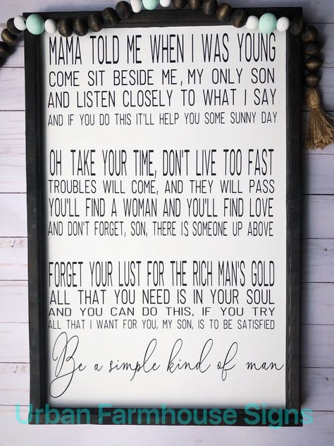 Lynyrd Skynyrd | signs | simple man | signs with quotes |farmhouse signs | wood signs | signs for the home | framed wood signs | by UrbanFarmhouseSignCo on Etsy