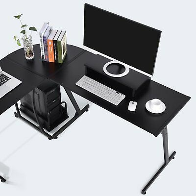 Details About L Shaped Office Computer Desk Large Corner Pc Table Laptop Workstation Black With Images Office Computer Desk Computer Desk Computer Desk Small Space