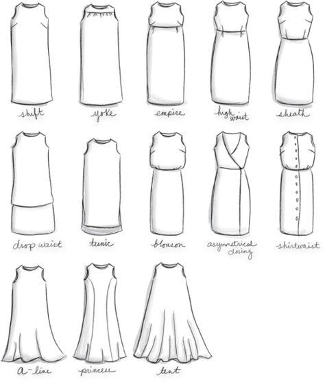 Et entre une robe trapèze et une robe droite. | 41 graphiques très utiles dont toutes les femmes ont absolument besoin