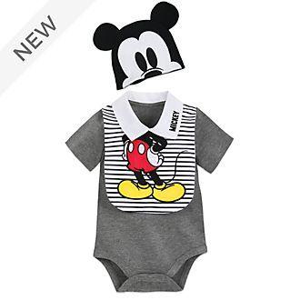 Grey//Black Bodysuit /& Jumpsuit /& Bandana Bib /& Hat Set for Baby Boys Mickey Mouse Disney