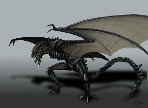 I made some Alien Fanart: Winged Xenomorph