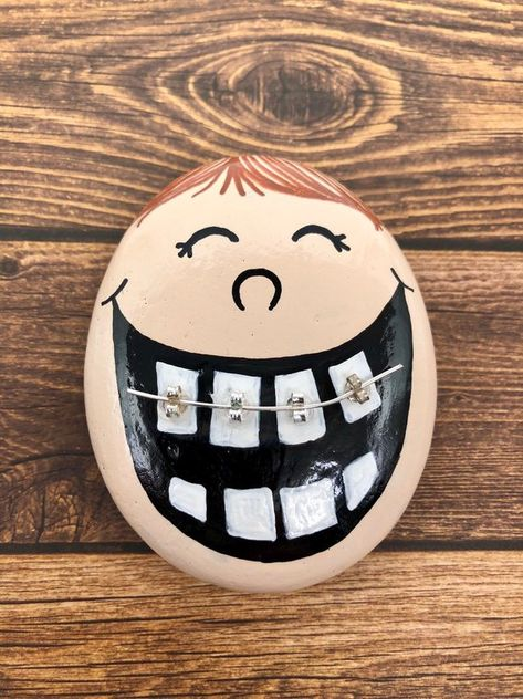 Kid with Braces Painted Rock Braces Rock Funny Orthodontist | Etsy