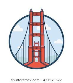 Golden Gate San Francisco Vector Illustration City Icon Golden Gate Bridge Bridge Logo