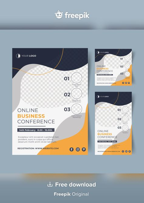 Download Webinar Flyer Template With Abstract Shapes for free