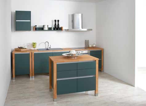 bloc kitchen beech wood - painted green wood Modulküchen - küchenarbeitsplatte buche massiv