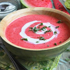 Looking to cool off this summer? Grab your blender and whip up this super simple bowl of chilled watermelon soup. It's light, fresh, and full of the flavors of watermelon, strawberries, and lime. Delicious!