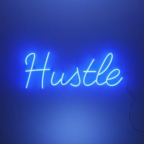 Hustle - LED neon sign - 130 x 50 cm / Blue