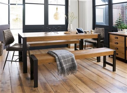 Miraculous Hudson Large Dining Table And Bench Set Home Oak Dining Inzonedesignstudio Interior Chair Design Inzonedesignstudiocom