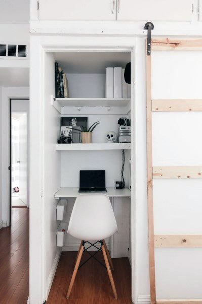 Top 40 Best Closet Office Ideas Small Work Space Designs Home Office Closet Closet Office Organization Closet Office