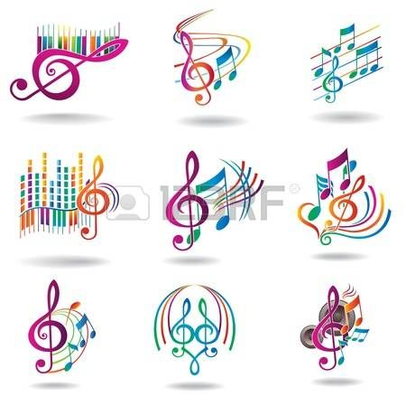 Colorful music notes  Set of music design elements or icons   photo