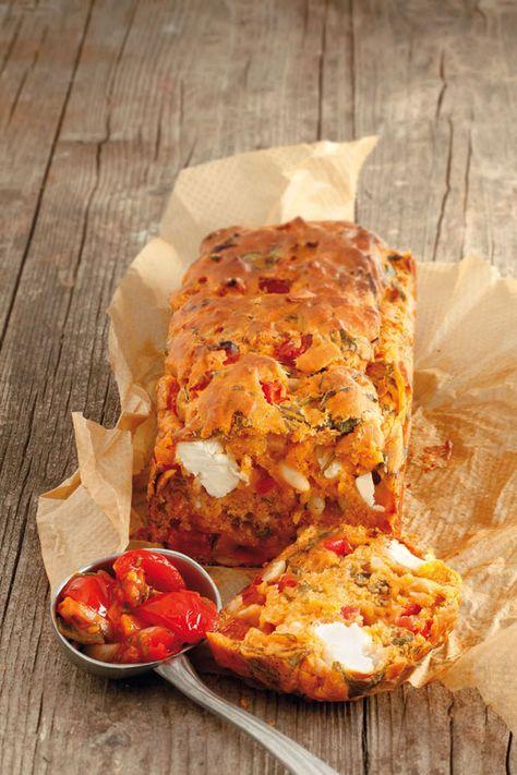 Vegetarischer Spinat-Ziegenkäse-Kuchen mit Tomaten-Paprika-Relish-amicella