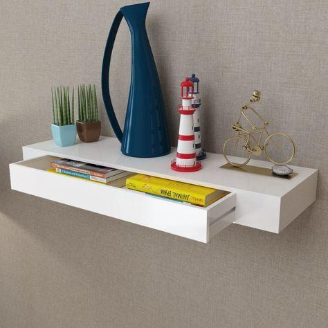 Boekenplank Met Lade.Wandplank Met Lade Mdf Zwevend Voor Boeken Dvd Wit Nieuw Speelgoed