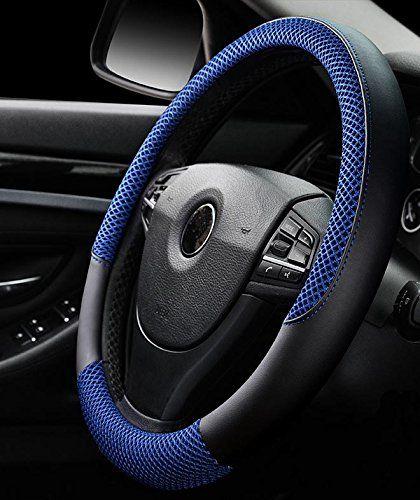 Istn Men S Anti Skid Breathable Ice Silk Steering Wheel Cover Blue