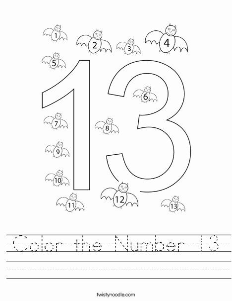 Number 13 Coloring Page Fresh Color The Number 13 Worksheet Twisty Noodle Color Worksheets Coloring Pages Printable Numbers