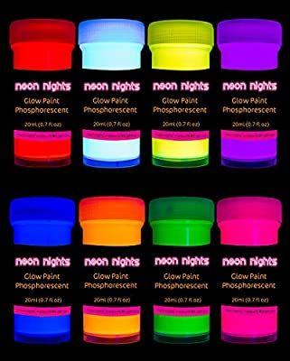 Neon Nights 8 X Peinture Phosphorescente Autoluminescente Couleur Fluo Luisant Dans Le Noir Luminous Paint Acrylic Paint Set Glow Paint