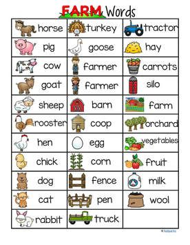 Farm theme concise page of 32 vocabulary words | School