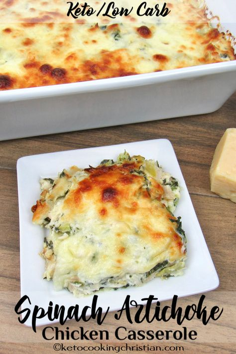 Spinach Artichoke Chicken Casserole - Keto and Low Carb A popular dip turned into a delicious Keto-friendly casserole and baking with gooey mozzarella cheese on top!#ketorecipes #keto #lowcarb #ketodiet #ketogenicdiet #lowcarbdiet #ketogenic #lowcarbrecipes #lchf #ketocookingchristian