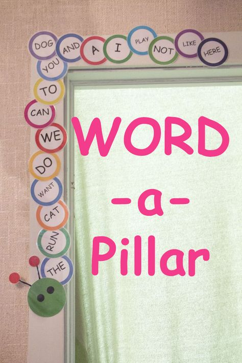 Teach Your Child To Read Tips - Build a Word-a-Pillar with the sight words your child is learning. A great way to motivate your child to read and track progress! - TEACH YOUR CHILD TO READ and Enable Your Child to Become a Fast and Fluent Reader! Sight Word Activities, Literacy Activities, Listening Activities, Literacy Centers, Site Words, Word Building, Kindergarten Literacy, Kindergarten Word Walls, Kindergarten Smorgasboard