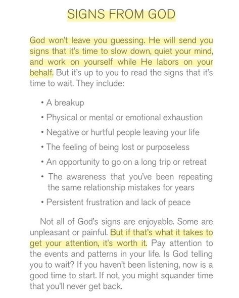 God won't leave you guessing. He will send you signs that it's time to slow down and work on yourself while He labors on your behalf.…