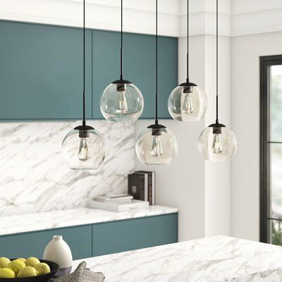 Mercury Row Snead 5 Light Cluster Globe Pendant With Glass Accents Wayfair Kitchen Island Pendants Globe Pendant Kitchen Lighting