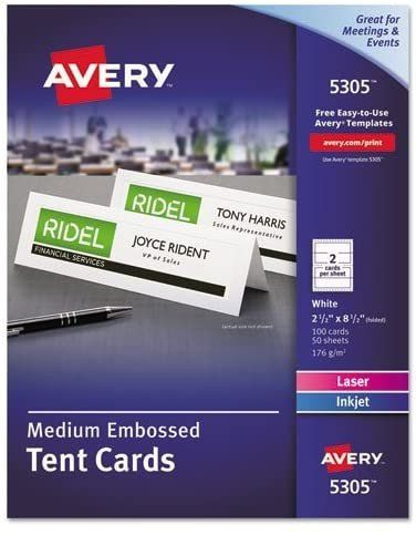 Avery Tent Cards Templates 5302 Luxury Amazon Medium Embossed Tent Cards White 2 1 2 X 8 1 Tent Cards Avery Printable Printed Place Cards