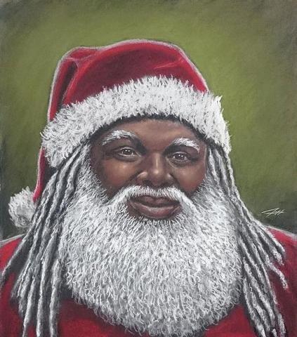 African American Santa Claus By Jeffrey Kearns African American Artwork Black Santa Black Love Art