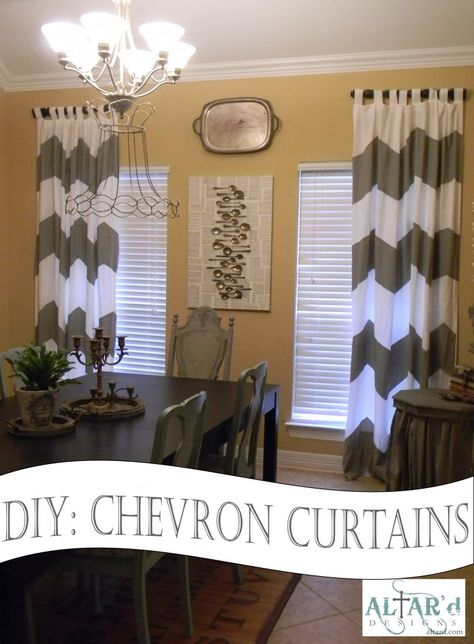 DIY Chevron Curtains Great tip on how to cut chevron strips easily!!! {Hers are no-sew, but I would sew them if I did this.}  Perfect for my dining room.