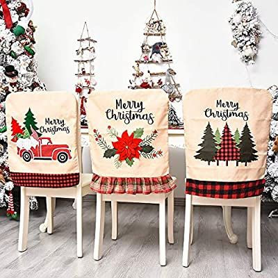 Amazon Com Jhua Christmas Back Chair Cover Set Of 3 Pcs Dining Room Chair Covers For Christmas Linen Dining In 2020 Xmas Decorations Flower Throw Pillows Linen Chair