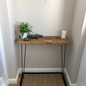 Narrow Console Table With Hairpin Legs Wooden Rustic Hallway