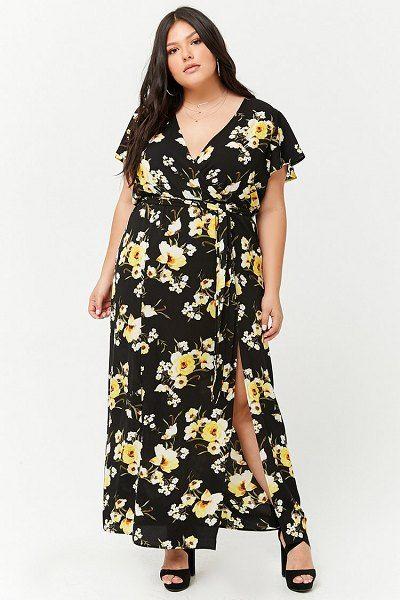 f54863db382 FOREVER21 PLUS plus size floral surplice m-slit maxi dress.  forever21plus   plussize