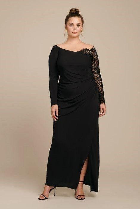 Plus Size Black Evening Maxi Dresses With Sleeves In 2020 Long Sleeve Maxi Evening Dress Black Maxi Evening Dress Maxi Dress Evening