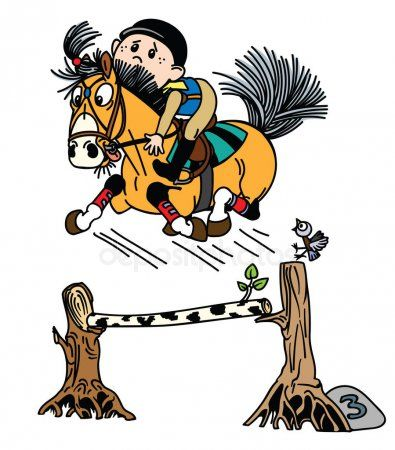 Cartoon Boy Training His Pony Horse Jumping Over Obstacle Funny Equestrian Sport Isolated Vector Illustration