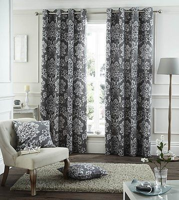 Catherine Lansfield Floral Toile Damask Fully Lined Eyelet Curtain Charcoal In Home Furniture Diy Curtains Bli Charcoal Curtains Damask Curtains Curtains