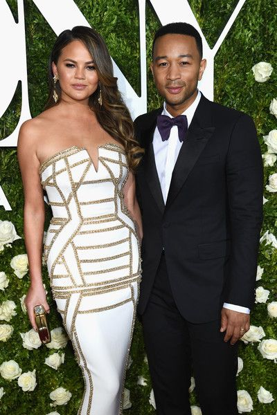 Chrissy Teigen and John Legend attend the 2017 Tony Awards at Radio City Music Hall.