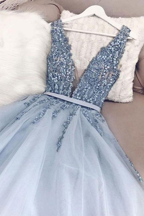Gorgeous Blue Tulle V Neck Open Back Beaded Senior Prom Dress, Pageant Dress
