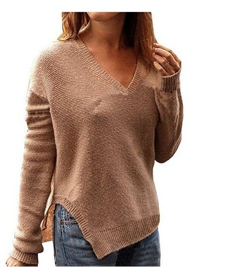 Women Long Sleeve Solid Baggy V-neck Chunky Knitted Sweater Jumper Blouse N kR