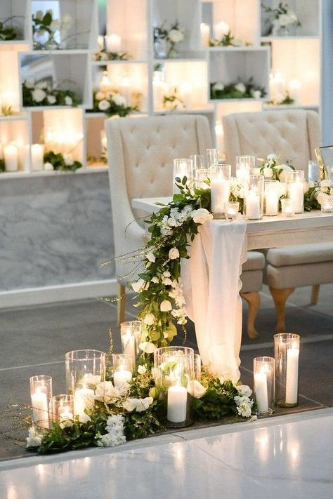Romantic and Modern Coastal Wedding at The Edition Hotel Miami, Glamorous White on White florals and Organic Greenery, Dusty Blue Flowy Bridesmaids Dresses, Flower Girl Dress, Flower Girl Hairstyles… Floral Wedding, Diy Wedding, Dream Wedding, Wedding Day, Miami Wedding, Wedding Tables, Light Wedding, Wedding White, Wedding Ideas Candles