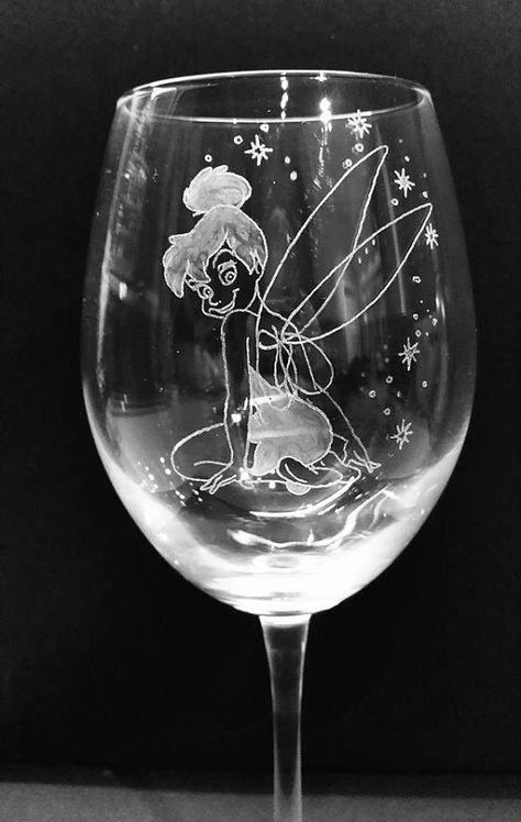 Personalised Hand Engraved Wine Glass Engraved With A Cute Disney Style Tink Tinkerbell ( Price Includes Name Or SHORT Message Added Free. ) (Please Contact/Message Me Or Use Note To Seller In Paypal With Your Text Requirements) All my glassware is HAND engraved and HAND etched by