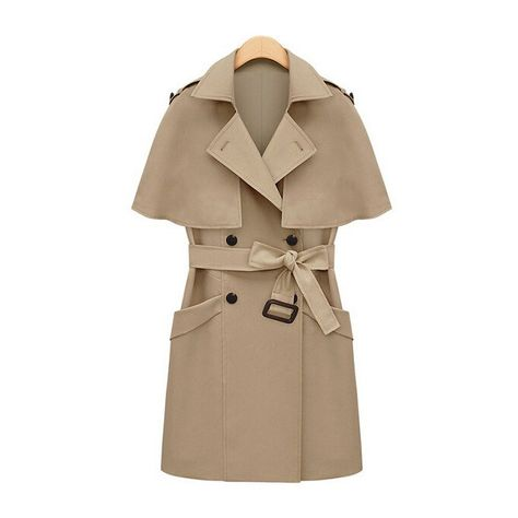 Beige Double Breasted Removable Capelet Coat With Belt (190 AED) ❤ liked on Polyvore featuring outerwear, coats, belted coat, double breasted belted coat, double breasted coat, belt coat and brown coat
