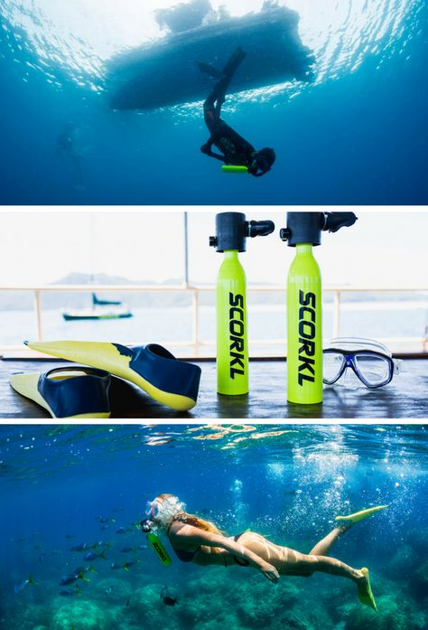 David Hallamore sammelt Geld für SCORKL - Breathe underwater with TOTAL freedom auf Kickstarter! Scorkl is lightweight, portable, refillable via hand pump and gives you up to underwater Camping And Hiking, Camping Survival, Survival Gear, Cozumel, Breathing Underwater, Scuba Diving Equipment, Scuba Diving Gear, Cool Inventions, Grand Cayman