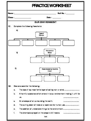 Worksheet Of Our Environment Pollution And Conserevation Of Our Environment Environment And Our Surroundings Science Worksheets Science Worksheets Our Environment